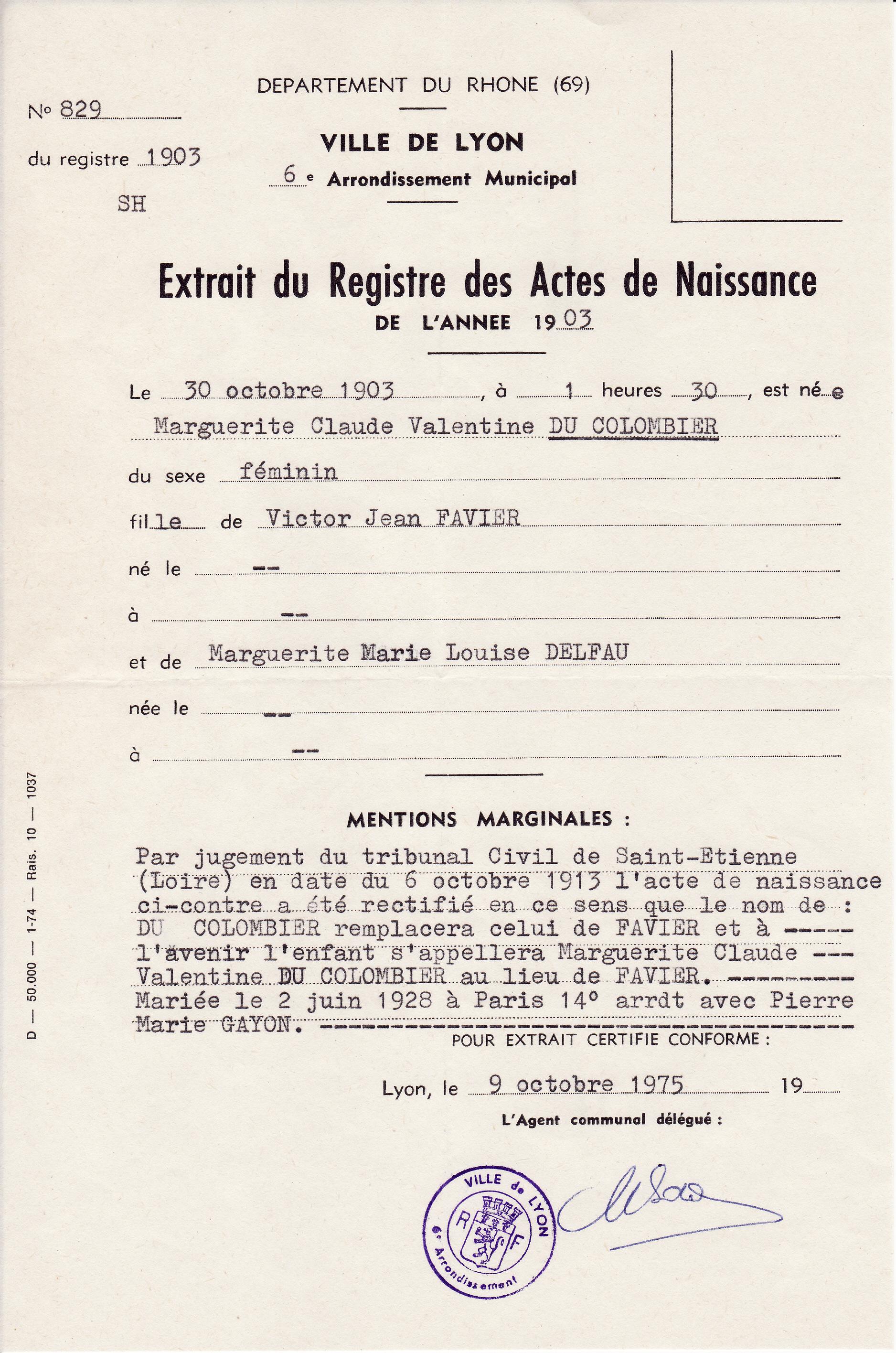 ° 1903 du COLOMBIER Marguerite Claude Valentine