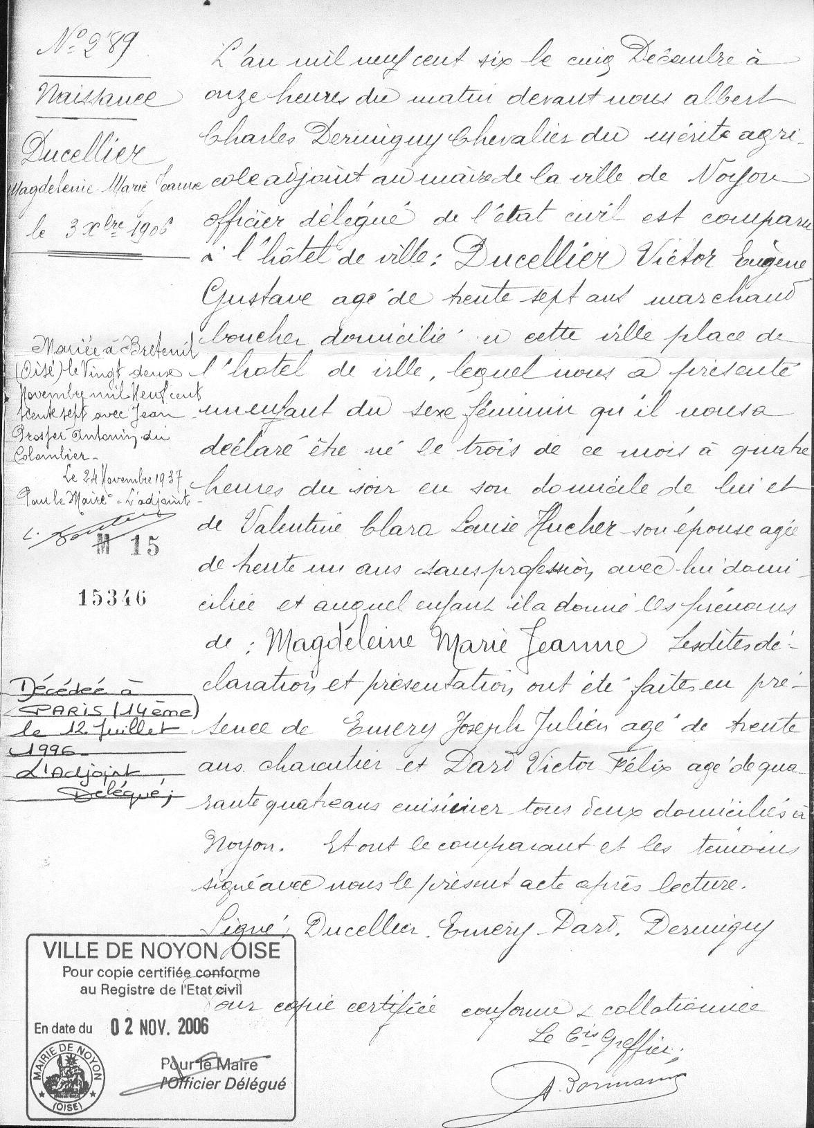 ° 1906 DUCELLIER Magdeleine Marie Jeanne
