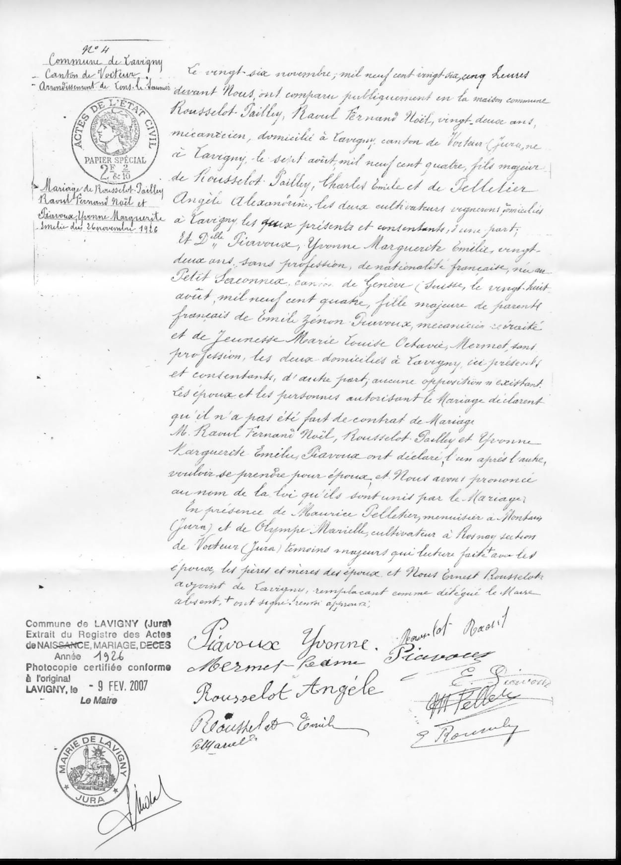 x 1826 ROUSSELOT-PAILLEY Raoul Fernand & PIAVOUX Yvonne