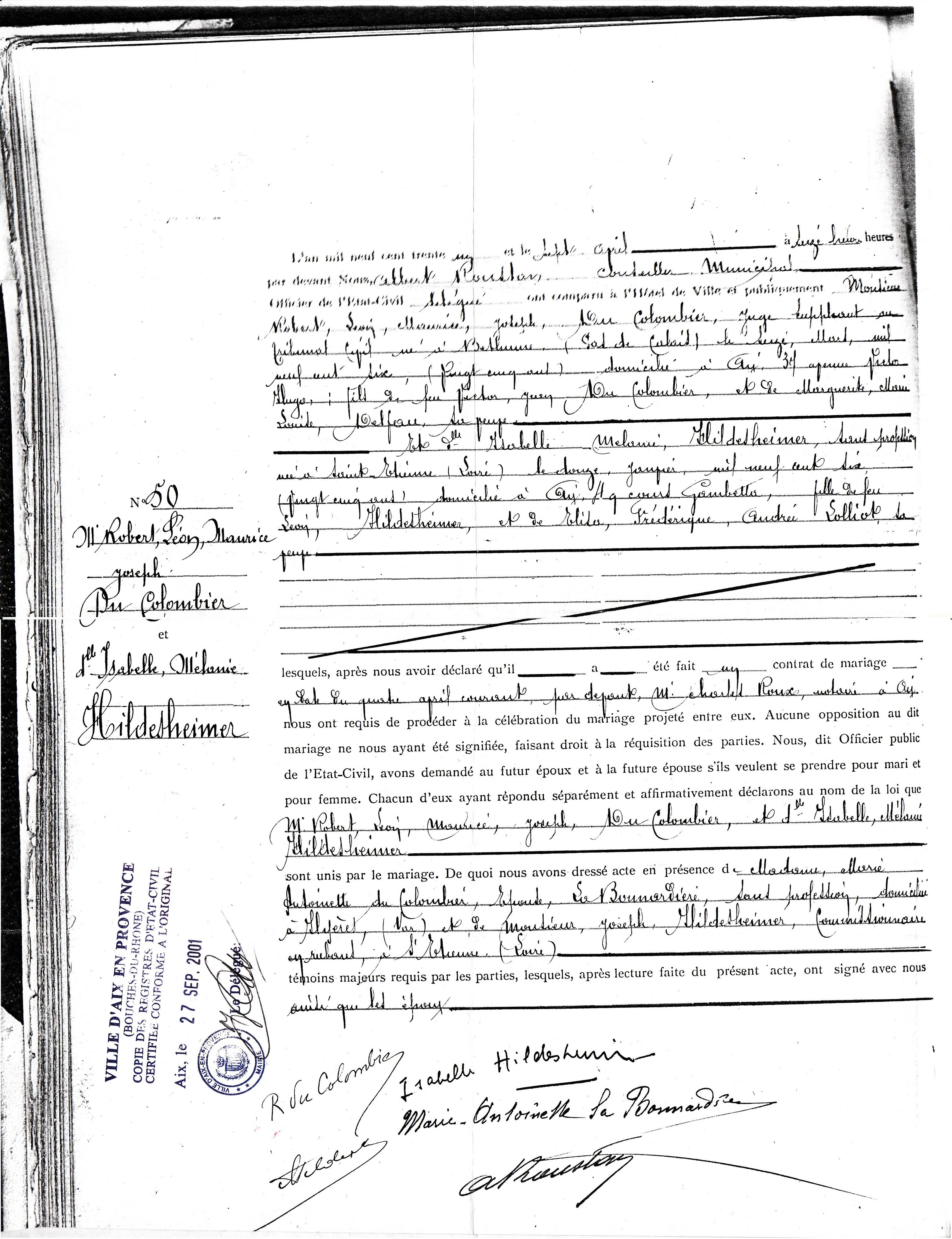 x 1931 du COLOMBIER Robert Léon Maurice & HILDESHEIMER Isabelle Mélanie